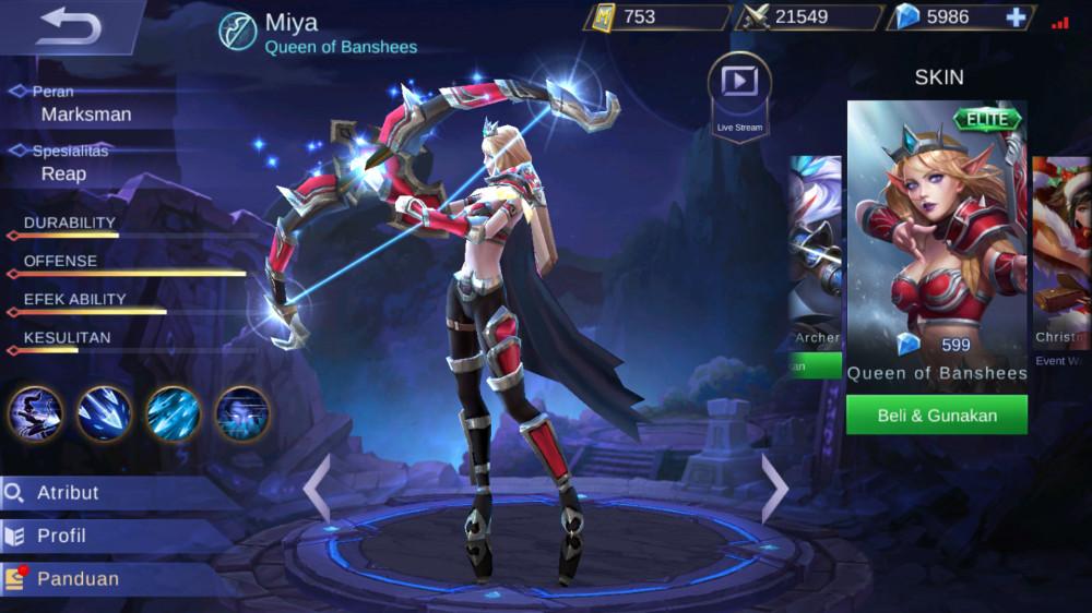 Jual Queen Of Banshees Elite Skin Miya Mobile Legends Dari Pasiangi Shope Itemku