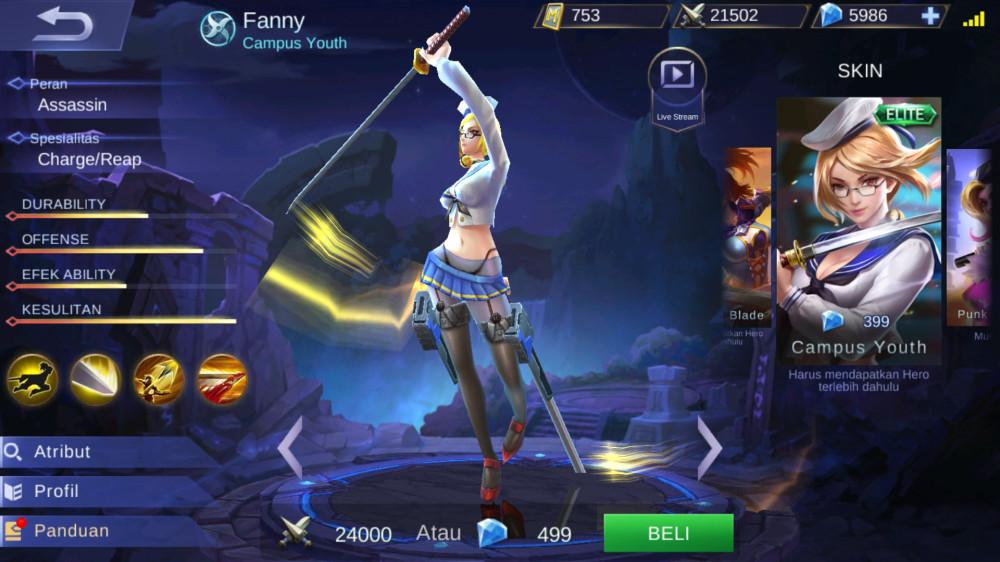 Jual Campus Youth Elite Skin Fanny Mobile Legends Dari Pasiangi Shope Itemku