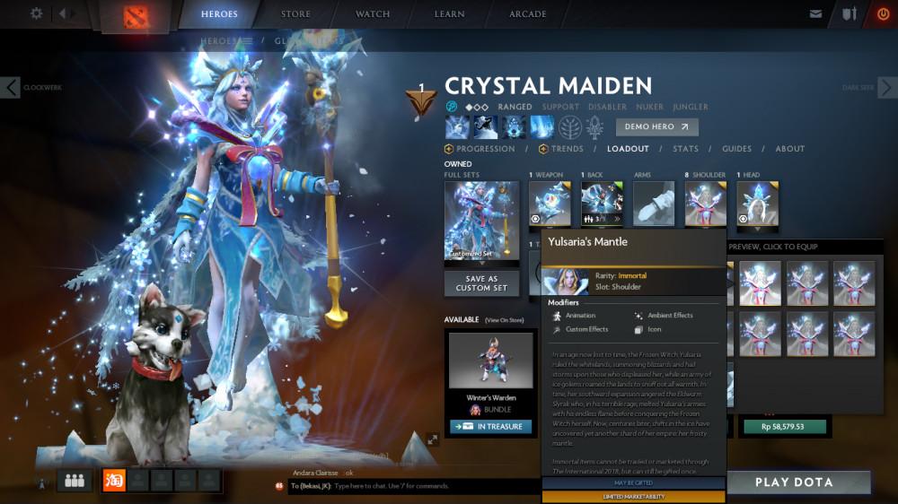 Jual Yulsaria's Mantle (Immortal TI7 Crystal Maiden) Dota