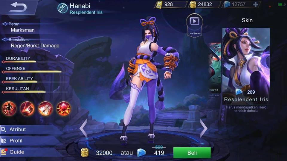 Jual Resplendent Iris Skin Hanabi Mobile Legends Dari Pasiangi Shope Itemku