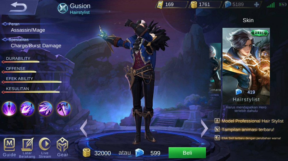 Jual Hairstylist Elite Skin Gusion Mobile Legends Dari Pasiangi Shope Itemku