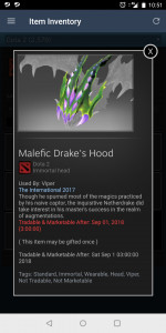 Malefic Drake's Hood (Immortal TI7 Viper)