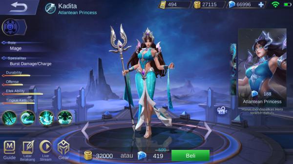 Jual Atlantean Princess Skin Kadita Mobile Legends Dari Pasiangi Shope Itemku