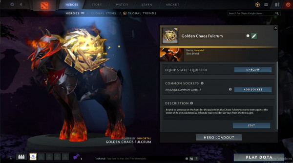 Golden Chaos Fulcrum (Immortal TI7 Chaos Knight)