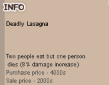 Deadly Lasagna Buff Item Ransum