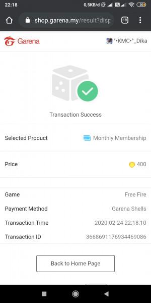 Membership bulanan FREE FIRE