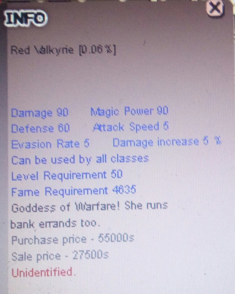 Red Valkyrie +0 unnap