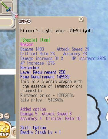 Einhorn Berserker XG+9 (Dmg 5, Crit 10, etc)