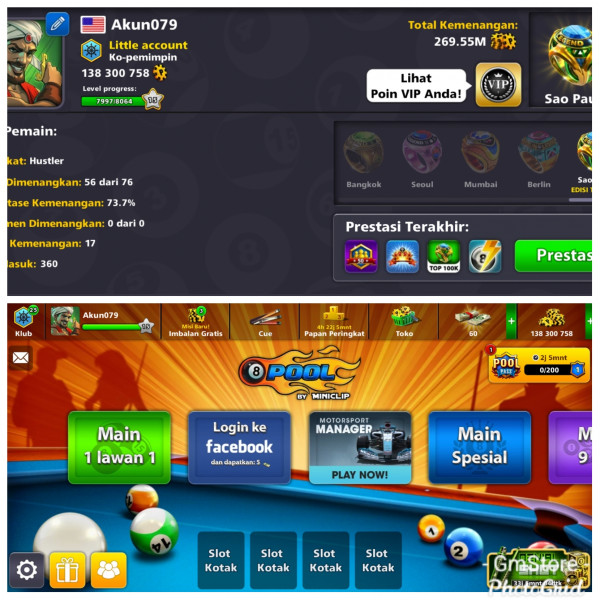 Akun Cue Level Max|Coin 138M|Login Miniclip