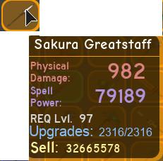 Sakura Greatstaff Max Dungeon Quest