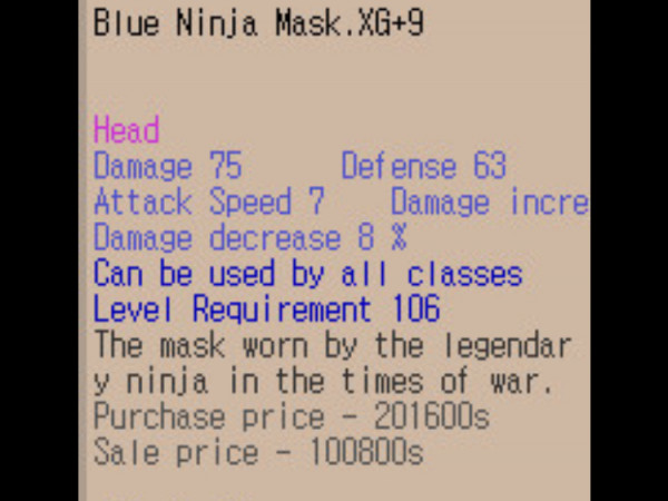 Blue Ninja Mask XG+9