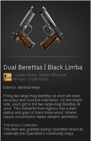 Dual Berettas | Black Limba (Mil-Spec Pistol)