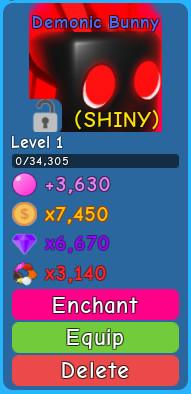 (Shiny) Demonic Bunny - Bubble gum Simulator
