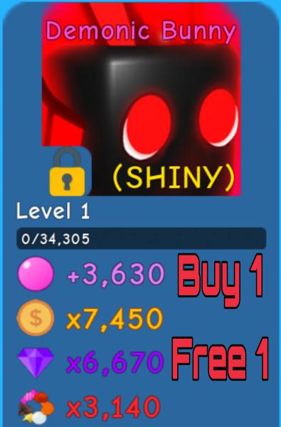 Shiny Demonic Bunny   Bubble Gum Simulator