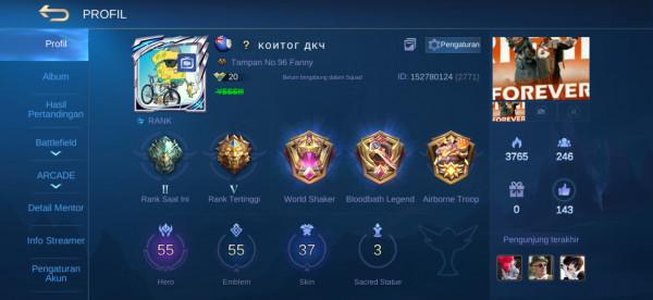 Akun ML hero55 skin37 Allunbind Aman Murah Sultan