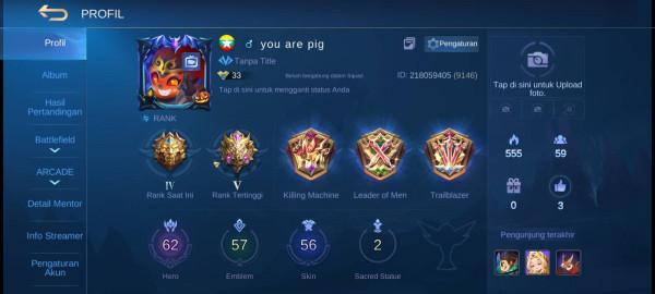 Akun mobile legend epic limit