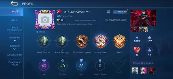 Akun ML hero40 skin20 Aman Murah Allunbind Aman GG