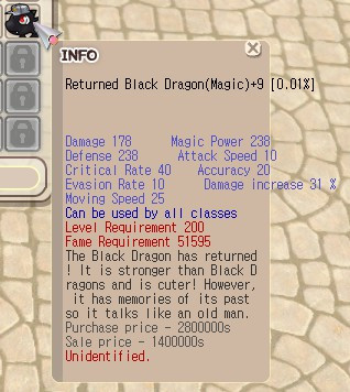 Returned Black Dragon (RBD) Magic +9 Unapp