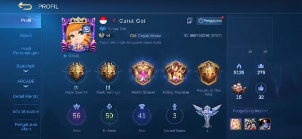 Akun ML hero56 skin41 Epic Irithel Aman Allunbind Murah