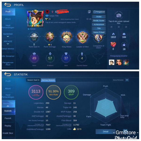 Akun Mobile Legend Point 68000 | Starlight 2 Murah