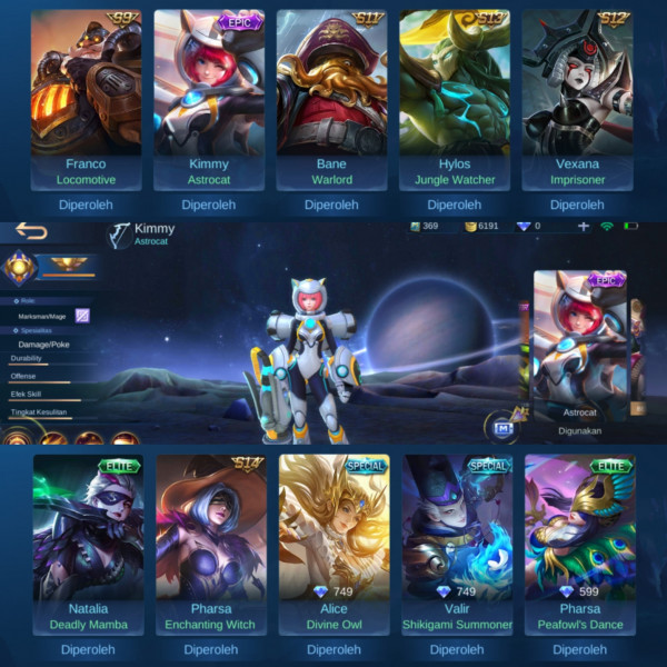 Akun Epic Limited Kimmy| 5 Special Skin| Murah