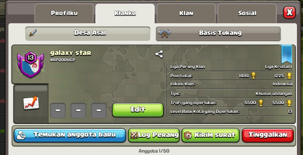Clan level 13 Nick Bagus Winrate GG