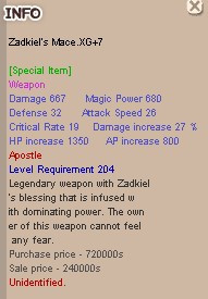 Zadkiel's Mace XG +7 Unnap