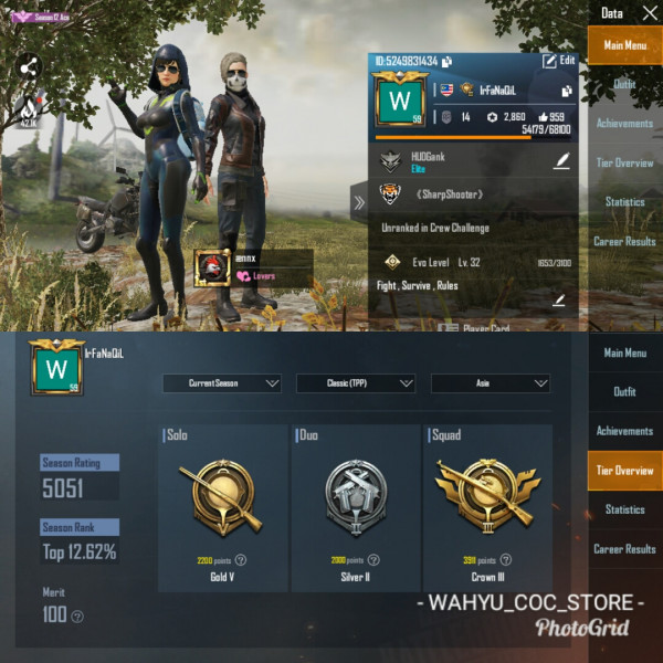 LVL 59 | 25 SET + 15 WEAPON | AKM GG + CROWN III