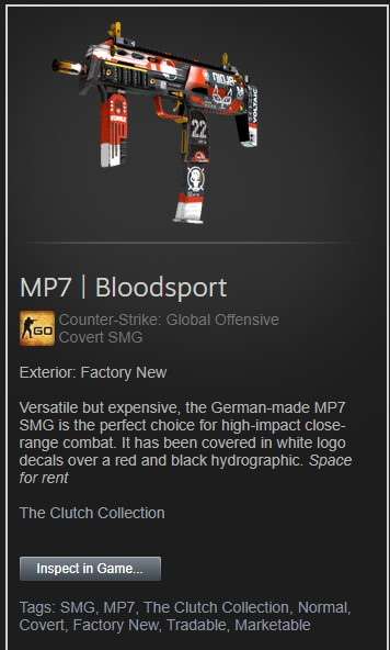 MP7 | Bloodsport (Factory New)