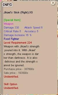 LnR Jikael's Stick XG+0 Unapp (Food Fighter) (FF)
