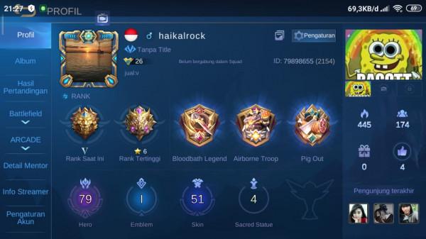 AKUN ML | HERO 79 | SKIN 51