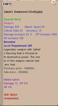 Sakiel Berseker XG+9[Light] HP8 Dmg12