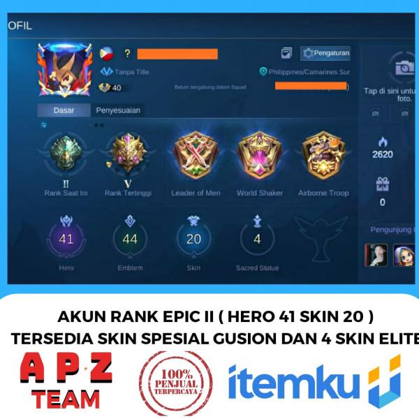 AKUN RANK EPIC II HERO 41 SKIN GS SPESIAL& 4 ELITE