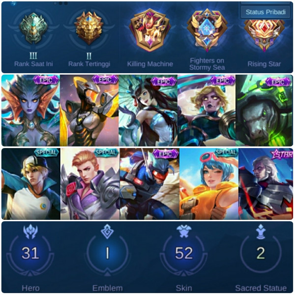 Akun Mobile Legends Ranked Murah Meriah