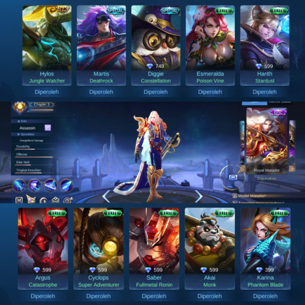 Akun Epic Limited Lancelot| Tier Legend III| Murah