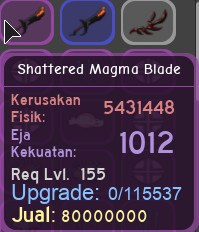 shattered magma blade purple dungeon