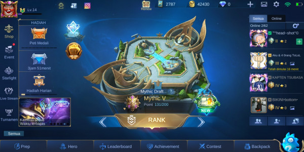 AKUN MOBILE LEGENDS + RANK MYTHIC V POINT 131