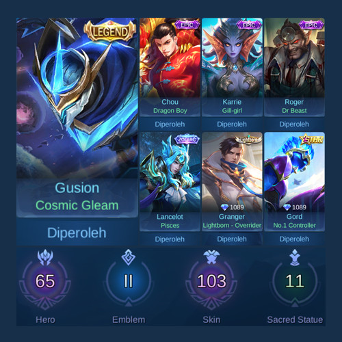 Akun Mobile Legends Skin Sultan + Epic Limited