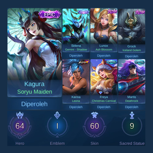 Akun Mobile Legends GG Punya Epic Limit + Zodiac