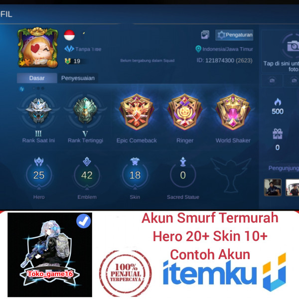 Akun Smurf|Hero 20+ (Acak)|Skin 10+(Acak)|Aman