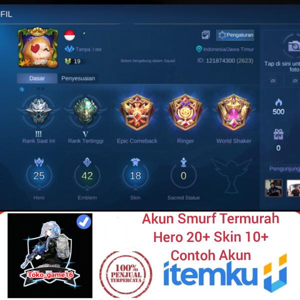 AKUN SMURF|HERO ACAK 20+|SKIN ACAK 10+|Allunbint