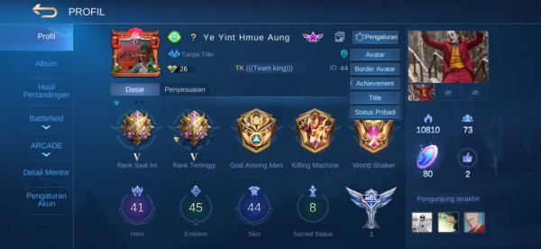 Akun ml rank mythic epic valir dan starlight haya dll