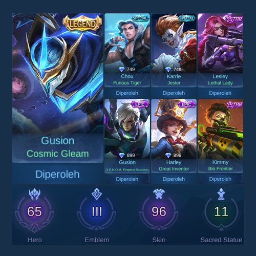 Akun Mobile Legends GG SKIN & HERO SULTAN