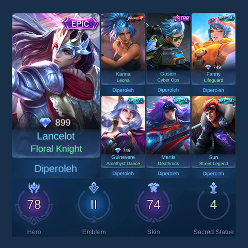 Akun Mobile Legends Sultan Hero + Skin Banyak