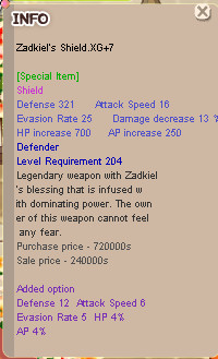 Zadkiel Shield XG+7 HP4 (Defender)