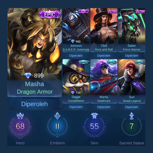 Akun Mobile Legends Semi Sultan Punya 2 Skin Epic