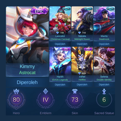 Akun Mobile Legends Sultan | Murah | Epic Kimmy