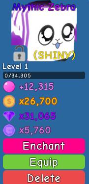 Shiny Mythic Zebra*rare(bubble gum simulator)