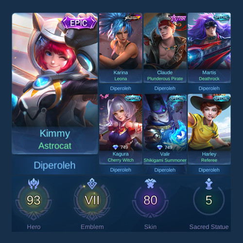 Akun Sultan Hero 93 Skin 80 Epic Limit Kimmy