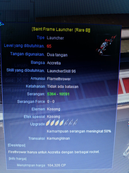 Senjata Launcher SFL Rare B Level 65
